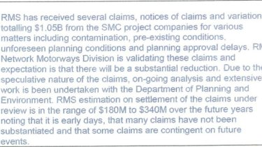 Section of an internal government document obtained by Labor showing $1.05 billion in contractor claims for WestConnex.