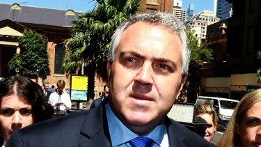 Joe Hockey outside the Federal Court during the defamation trial proceedings.