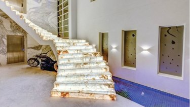 The staircase inside Mehajer's mansion in Lidcombe.