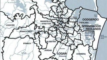The Brisbane to Gold Coast boundaries under the Queensland Redistribution Commission's final determination.