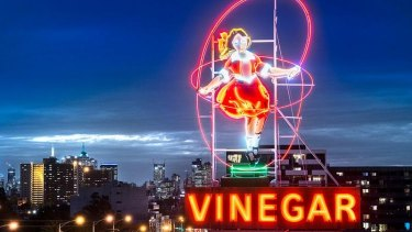 The Skipping Girl Vinegar sign in Richmond.