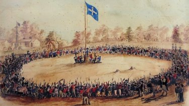 A contemporary sketch by Charles Doudiet shows the Eureka rebels swearing allegiance to the flag of the Southern Cross at Bakery Hill in Ballarat.