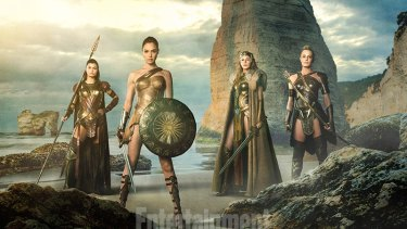 Wonder Woman (Gal Gadot),  Queen Hippolyta (Connie Nielsen), and aunts Antiope (Wright) and Menalippe (Lisa Loven Kongsli).