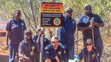 Karajarri rangers proudly display their work near Bidyadanga community in the Kimberley.