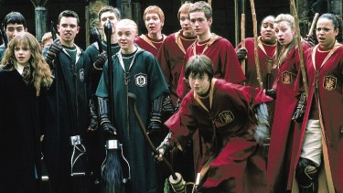 A Quidditch scene from Harry Potter.