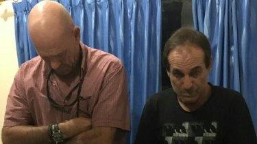 Briton David Fox (left) and Australian Giuseppe Serafino were arrested in in Bali in October last year.