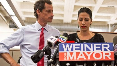 Stand by me: Disgraced politician Anthony Weiner with his wife Huma Abedin in the bizarre documentary Weiner.