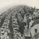 Australian troops on the deck of the battleship Prince of Wales, just before the Gallipoli landing.