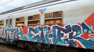 The pair and associates tagged trains at a host of locations including Bayswater, South Kengsington, Pakenham and a V/Line train at Traralgon.