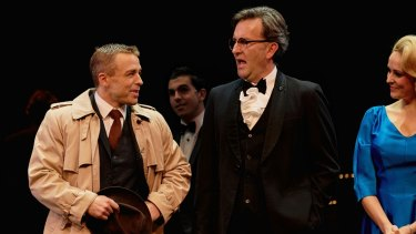 Simon Gleeson, Colin Lane and Lucy Maunder in The Production Company's <i>Curtains</I>.