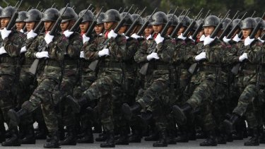 Thai soldiers on parade earlier this year.