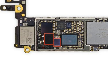 """The touch IC chips - in red - that are the root cause of the 'touch disease"""" epidemic."""