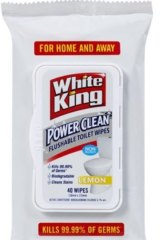 "White King Power Clean Flushable Toilet Wipes were advertised as being a ""flushable toilet wipe""."