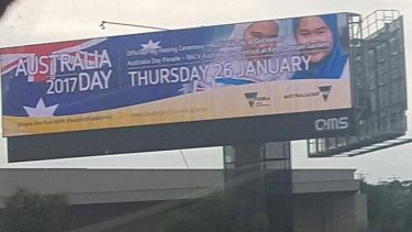 The controversial Australia Day billboard featuring two young girls in hijab.