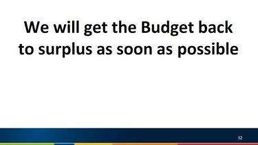 Part of Mr Hockey's PowerPoint presentation to Coalition MPs.