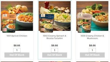 Some of the meals on offer on the EasyMeals website.