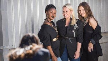Salvos' eco Stylist Faye De Lanty with volunteer models at one of her recent workshops.