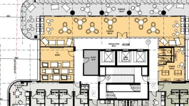 A floor plan showing cluster living, twin apartments and communal areas.