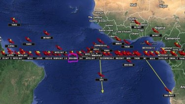 The crowded skies: Luch-Olymp positioned over the Atlantic this week.
