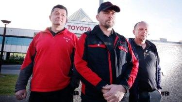 Long term employees Damir Dakovic, Matthew Kinson and Michael Spiteri outside Toyota's plant on its final day.