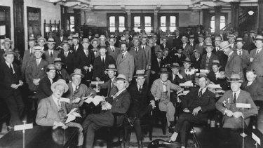 Inside Tattersall's Club in Brisbane circa 1926.