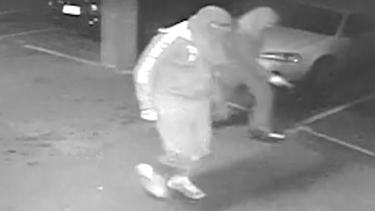Footage of two attackers in pursuit of Michael Rooke.