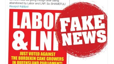 """The LNP media account tweeted about """"fake news"""" this week."""