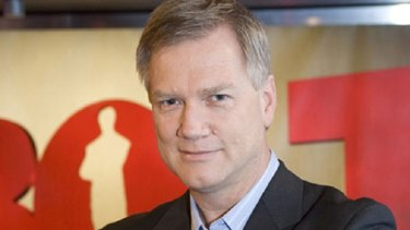 """""""I don't do running and hiding"""": CCTV footage shows Andrew Bolt fighting back against his alleged attackers."""