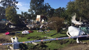 Destroyed: A home has been flattened by a bulldozer.