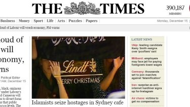 <i>The Times</i> homepage on Monday morning (AEDT).