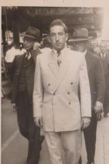 Fred (Frici) in his white suit walking down Bondi Rd, Bondi, not long after he arrived in Australia in 1949, aged 19.
