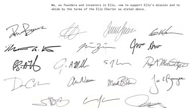 Ello staff signed a charter to prevent the network from ever showing ads or selling user data.
