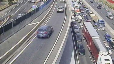 Traffic snarls stretch back towards the Domain Tunnel after a crash on the West Gate Bridge.