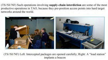 NSA staff are shown intercepting Cisco packages.