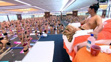 Bikram Choudhury presides over a hot yoga class in the US.