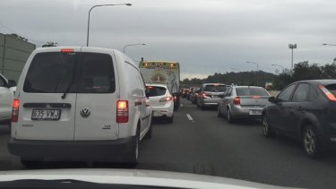 Long way to go... traffic bumper-to-bumper on the Pacific Motorway.