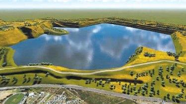 An artist's impression of Hazelwood coal mine as a lake.