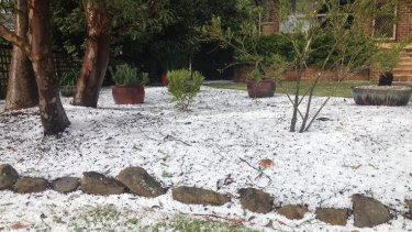 Hail in the mid-mountains to Sydney's west.