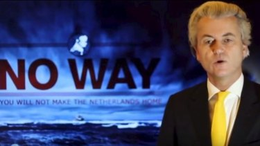 A screenshot of Dutch politician Geert Wilders speaking in an anti-immigration campaign ad.