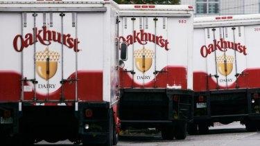 Oakhurst Dairy trucks lining up in Portland, in 2006.