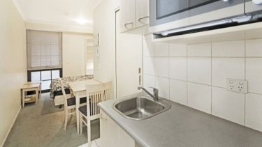 The 20-square metre studio apartment advertised for sale at 585 La Trobe Street.