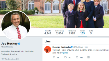 "A screenshot of Mr Hockey's account shows the rogue ""like""."