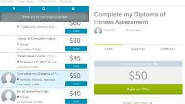 A screenshot of an Airtasker job requesting help with an assessment.