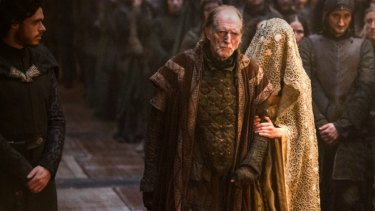 Robb Stark (left) attends the Red Wedding held by Lord Walder Frey (centre).