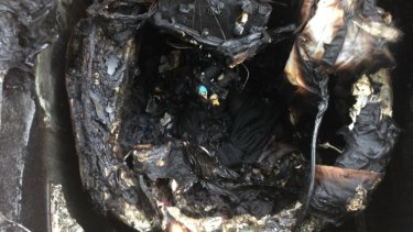Jacquie Briskham's faulty Samsung washing machine caught fire on Wednesday.