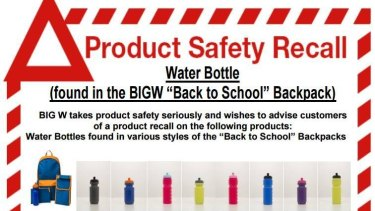 BIG W has recalled bottles from a range of back-to-school packs, due to a choking hazard.
