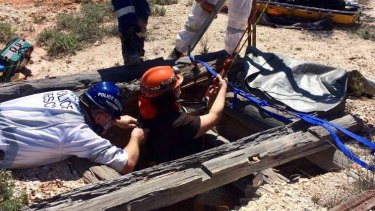 Police rescued a woman who fell down a mine shaft in Lightning Ridge.