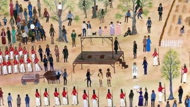 Ballarat indigenous artist Aunty Marlene's depiction of the 1842 hanging.