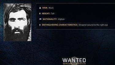 The FBI wanted poster for Taliban leader Mullah Omar.