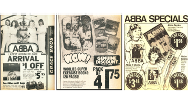 A selection of licensed ABBA merchandise Down Under.